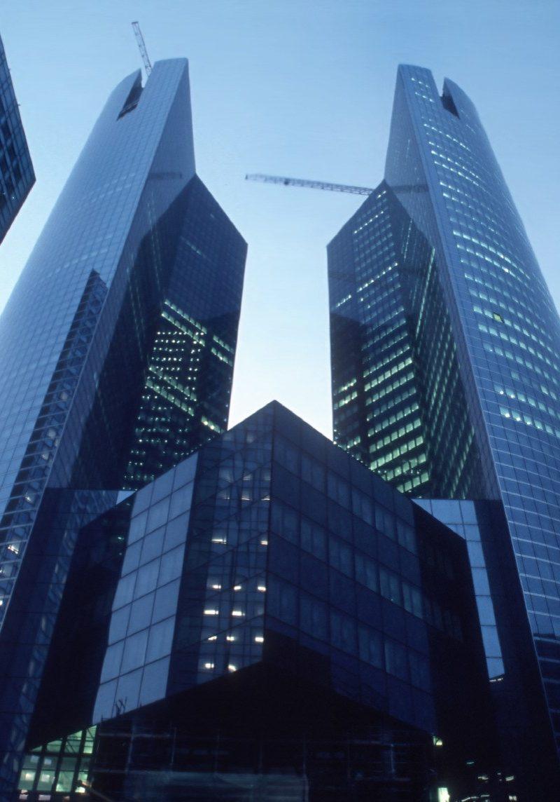 Paris-La DŽfense, France - Corporate Headquarters Building, Societe GŽnŽrale Banque, Night. Arch. Credit: M. Andrault & P. Parat.